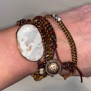 Wrap bracelet, leather with earth tone beads